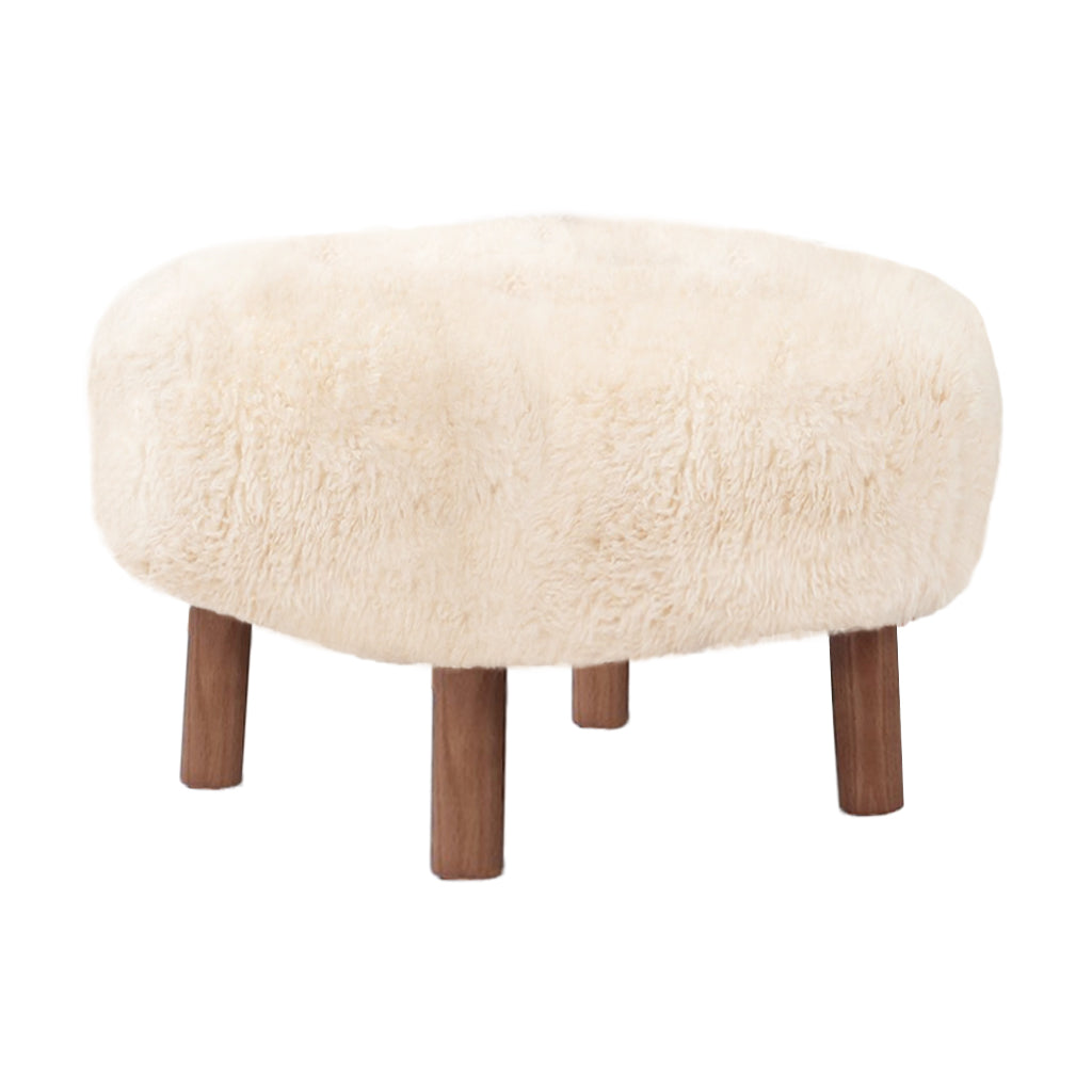 Little Petra Ottoman - Sheepskin-Long Hair / Walnut