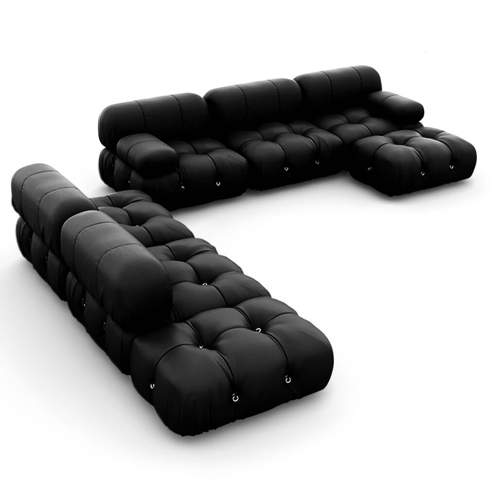 Mario Bellini  Camaleonda Sofa / Combination 007 - Aniline Leather-Black