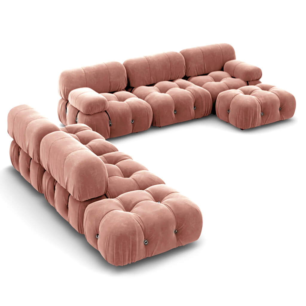 Mario Bellini  Camaleonda Sofa / Combination 007 - Chenille Helios-Dusty Rose
