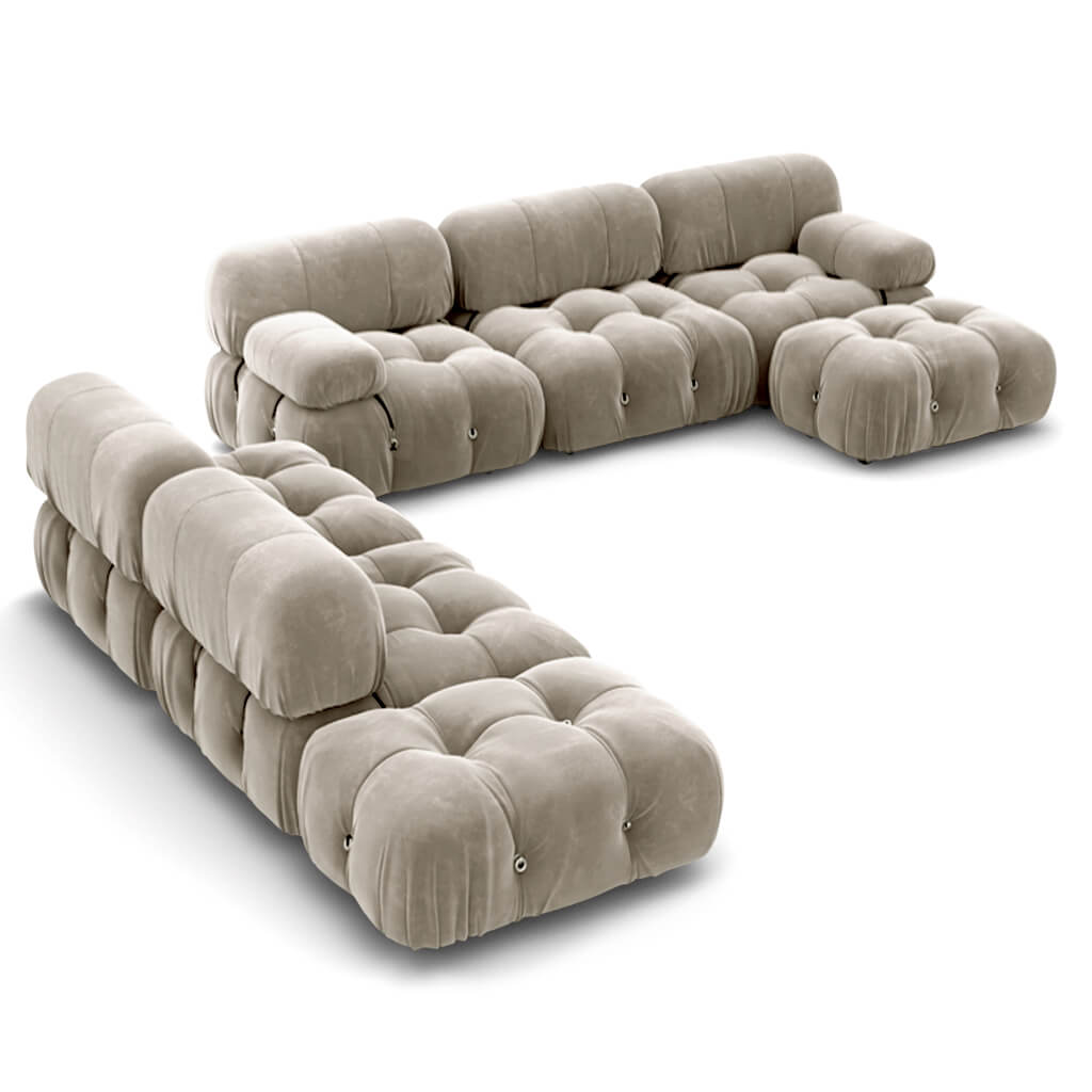 Mario Bellini  Camaleonda Sofa / Combination 007 - Chenille Helios-Feathered Beige Grey