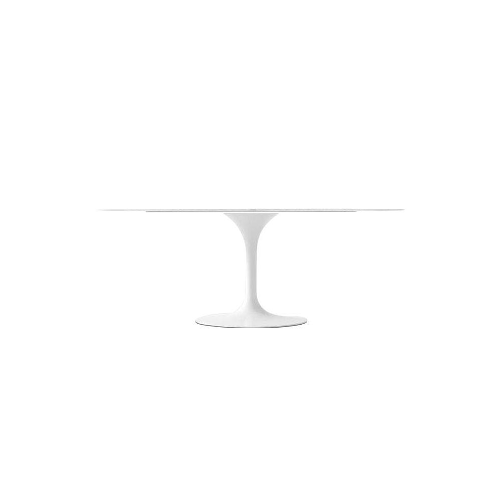 Statuario Venato Calacatta Quartz<sup>&copy;</sup> Tulip Dining Table - Oval - EternityModern