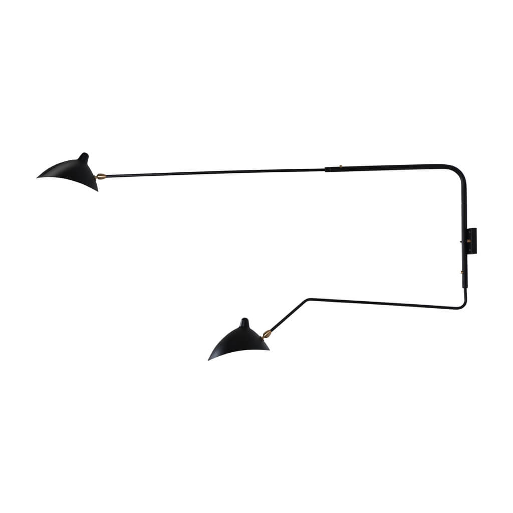 Serge Mouille Two-Arm Wall Sconce - Black