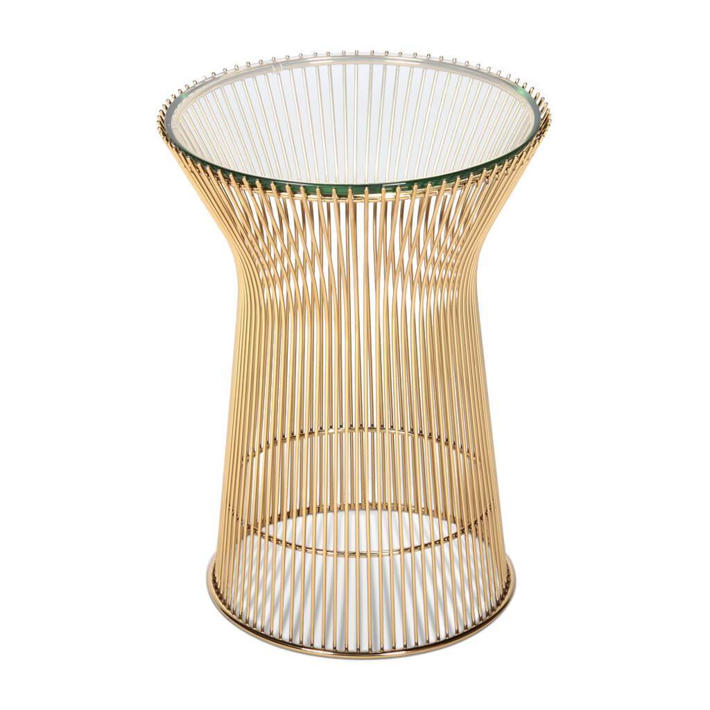 Side Table Glass Top Gold pic