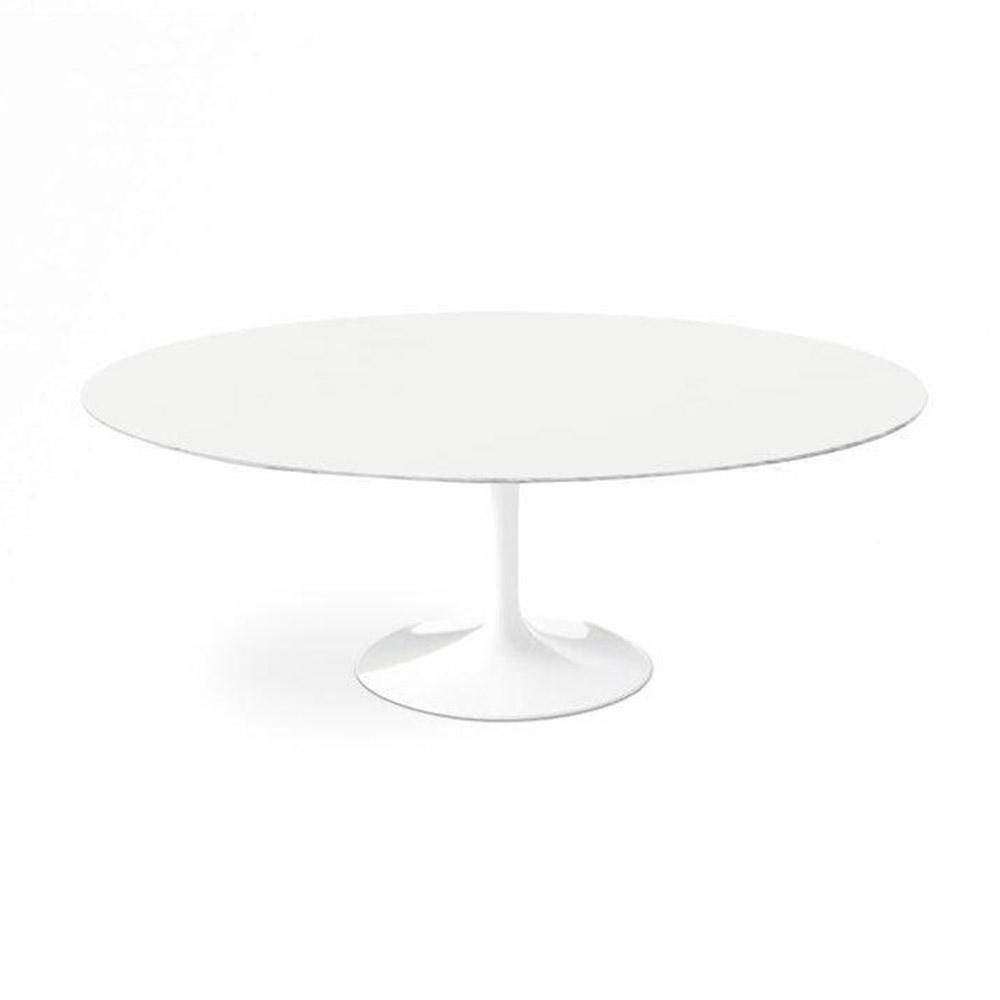 White Lacquer Dining Table Oval Modern pic