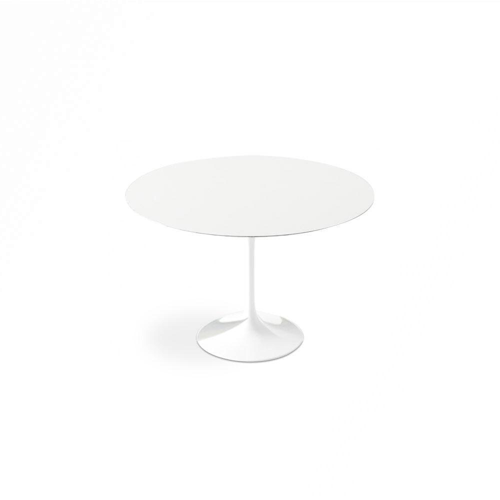 White Lacquer Dining Table Round pic