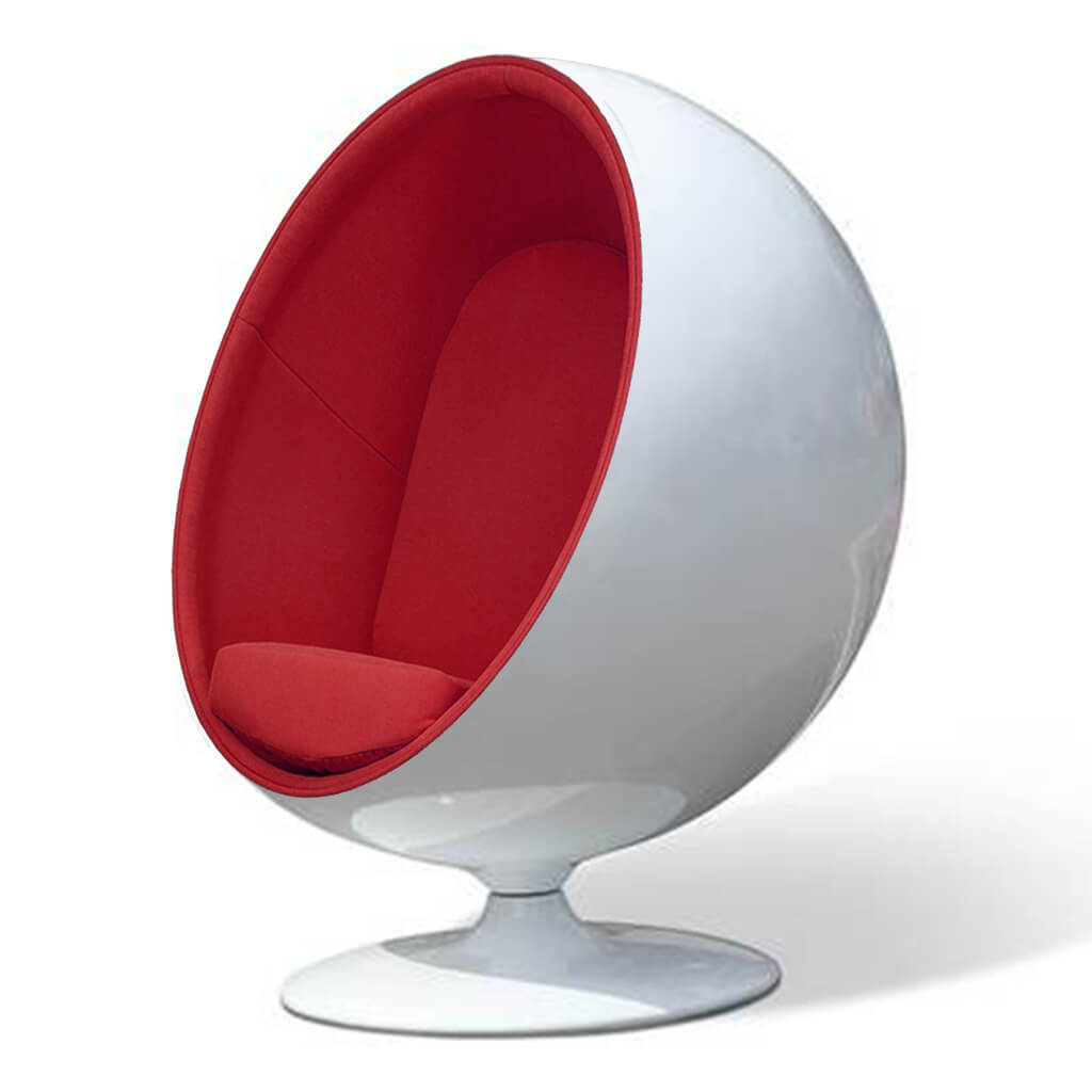 Ball Chair - Boucle Wool-Ruby / Glossy White
