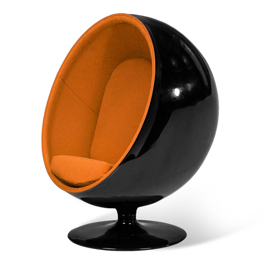 Ball Chair - Boucle Wool-Copper / Glossy Black