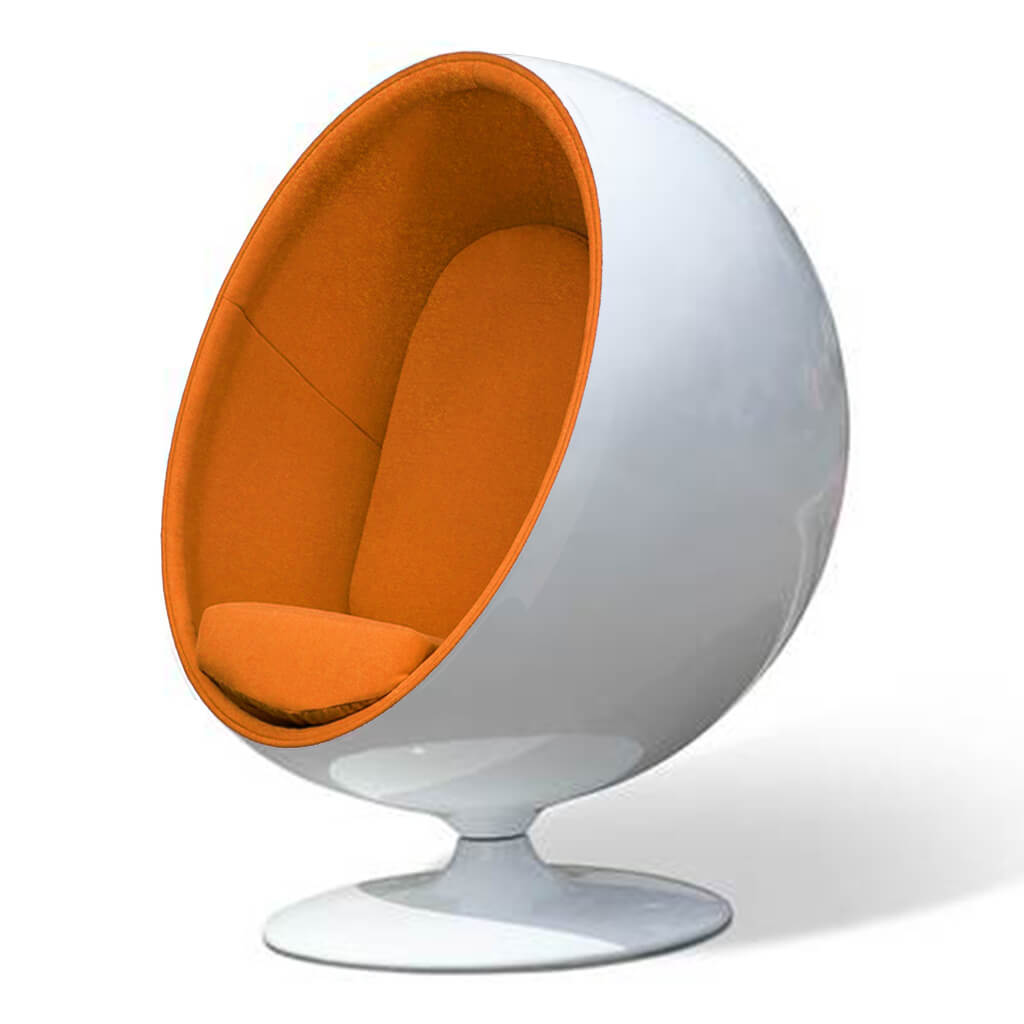Ball Chair - Boucle Wool-Copper / Glossy White