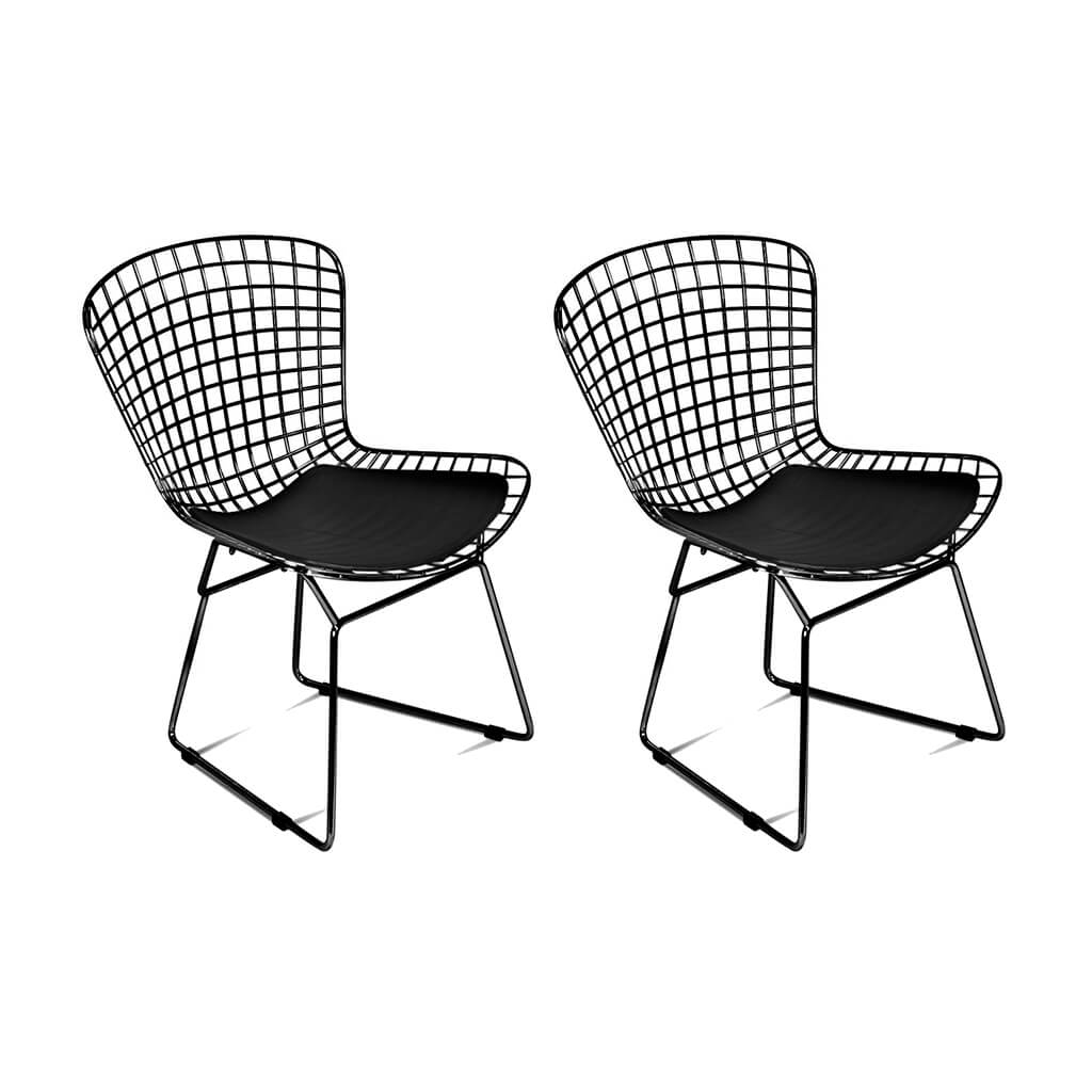Set of Two Bertoia Side Chairs - Black