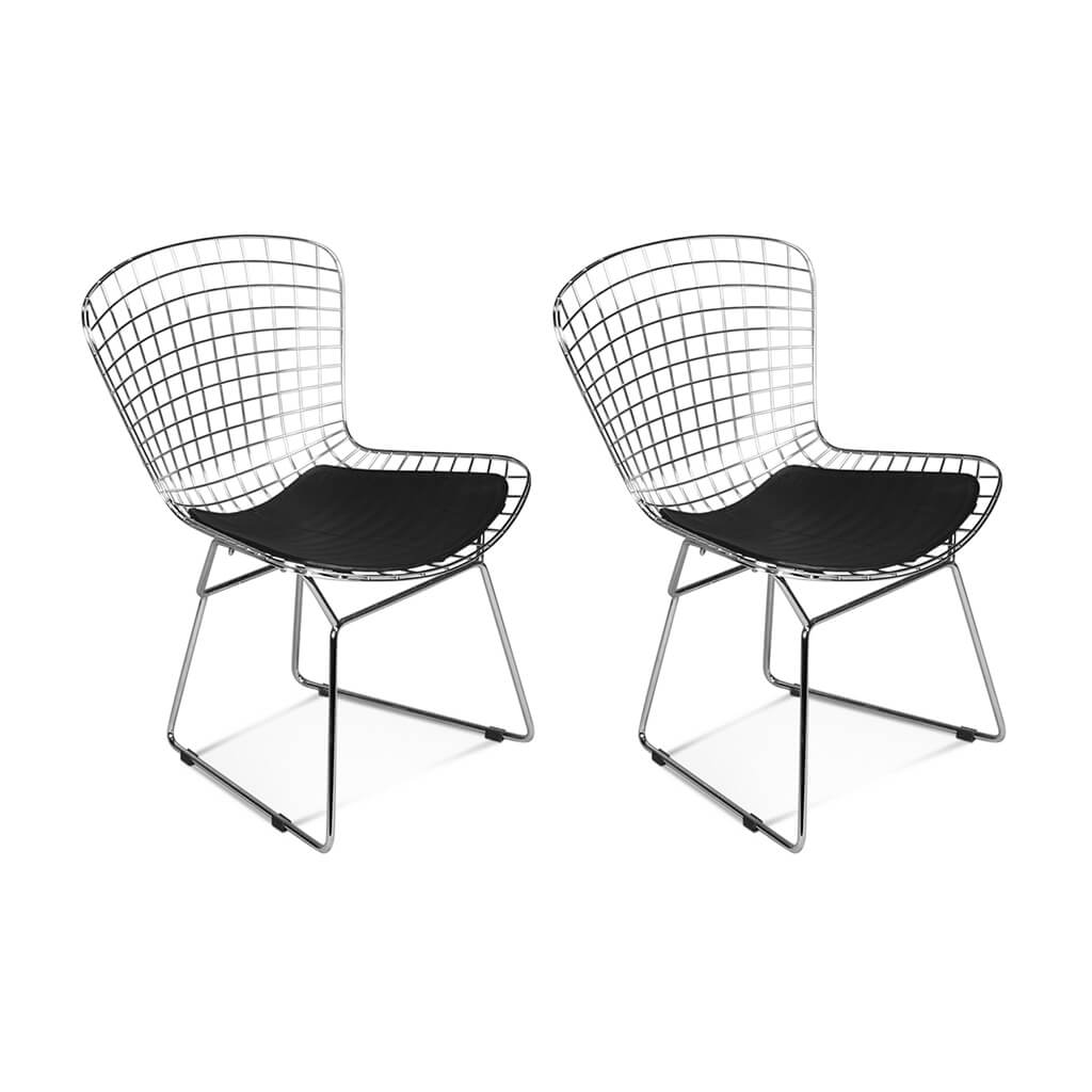 Set of Two Bertoia Side Chairs - Chrome