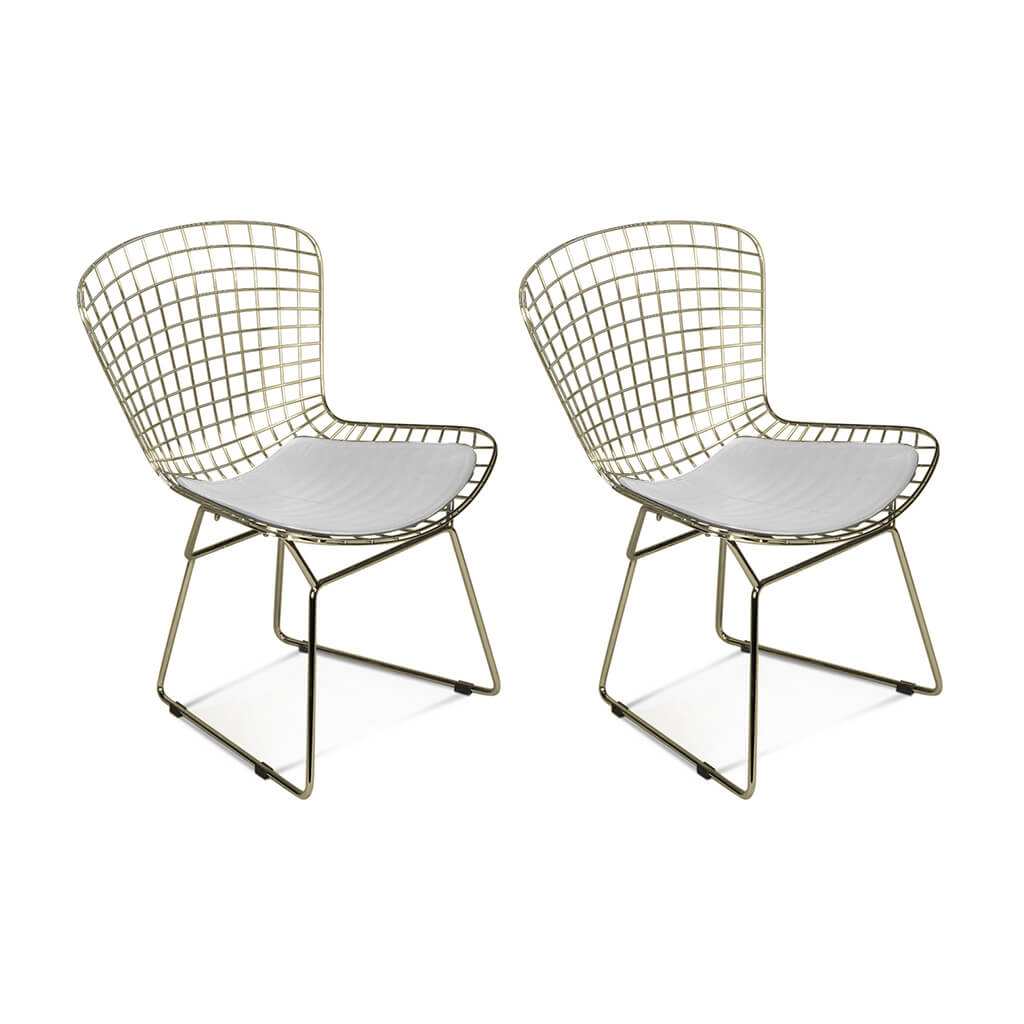 Set of Two Bertoia Side Chairs - Yellow Gold
