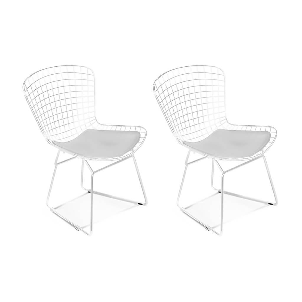 Set of Two Bertoia Side Chairs - White