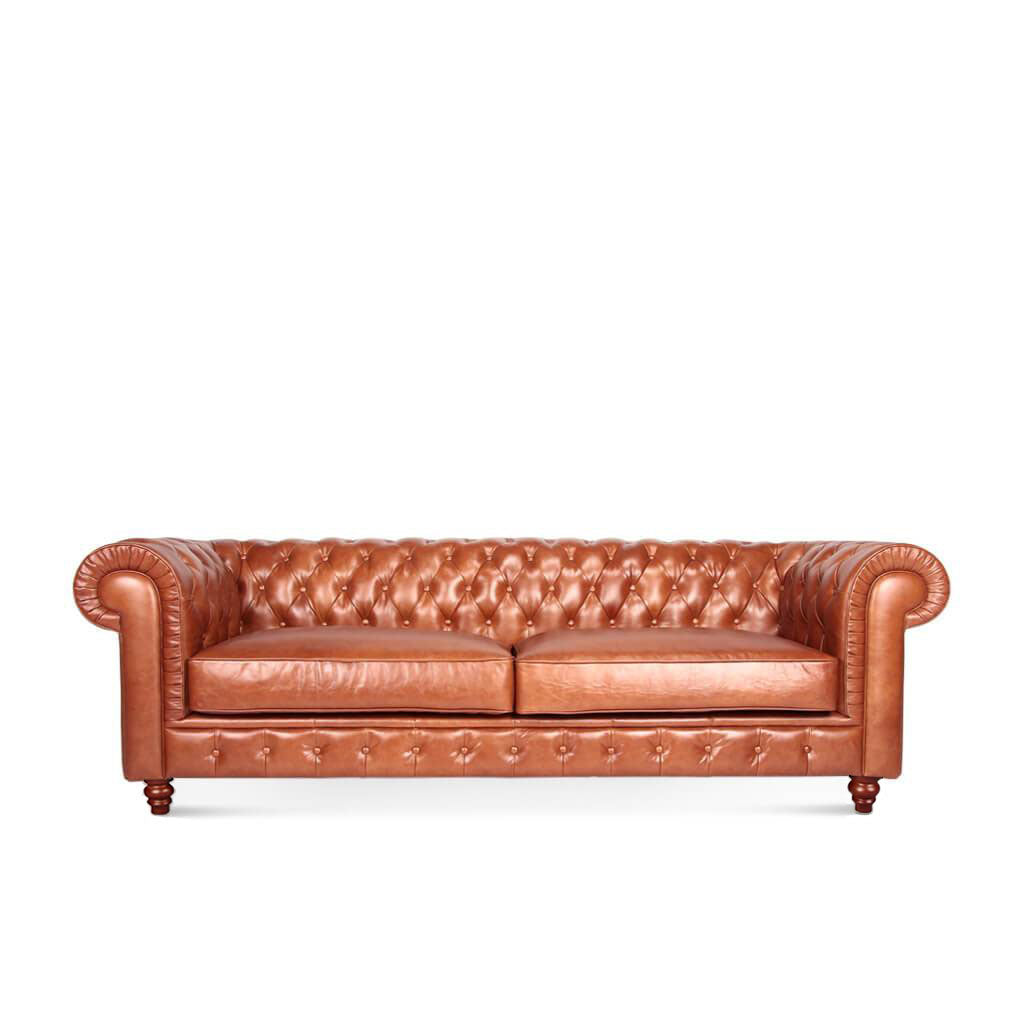Chesterfield Sofa Three Seater - Aniline Leather-Beige