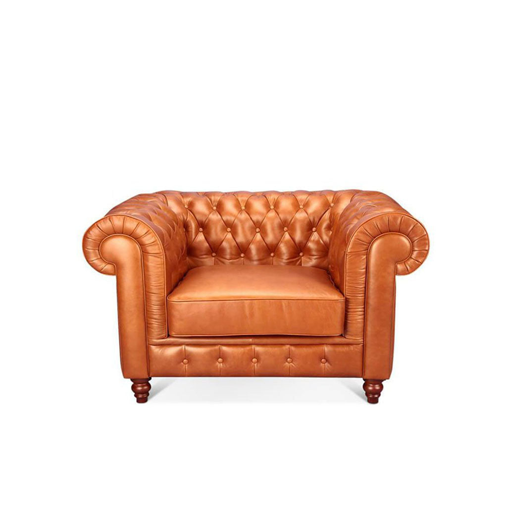 Chesterfield Sofa One Seater - Aniline Leather-Beige