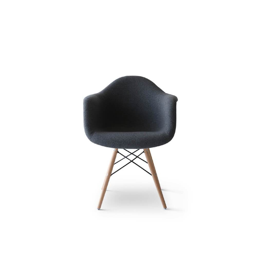 Eternity Modern Daw Chair - Upholstered Fiberglass - Cashmere-Dark Grey / Black