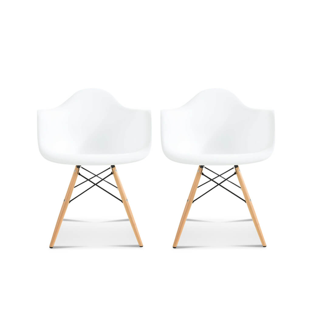 Set of Two DAW Molded Plastic Armchair Wooden Dowel Base - EternityModern