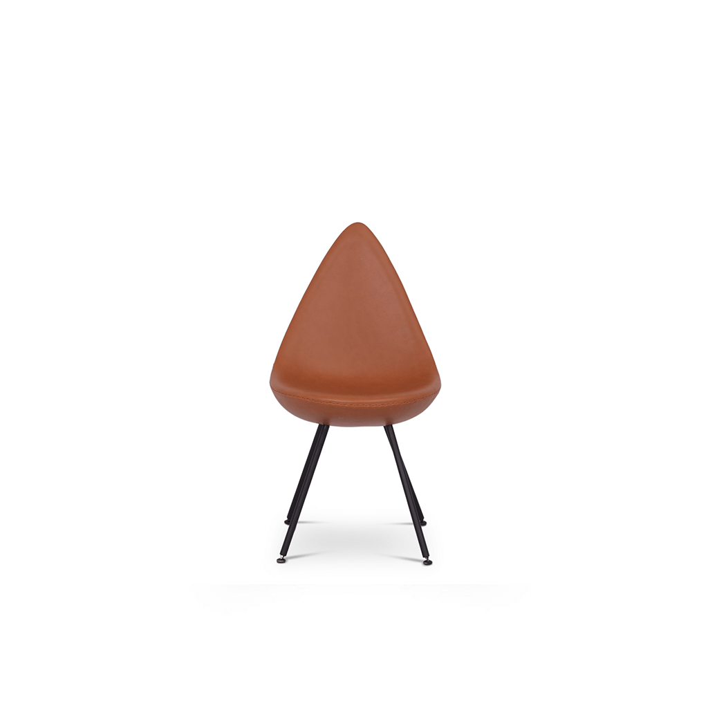 Arne Jacobsen Drop Chair - Upholstered - Aniline-Camel / Black Powder-Coated Steel