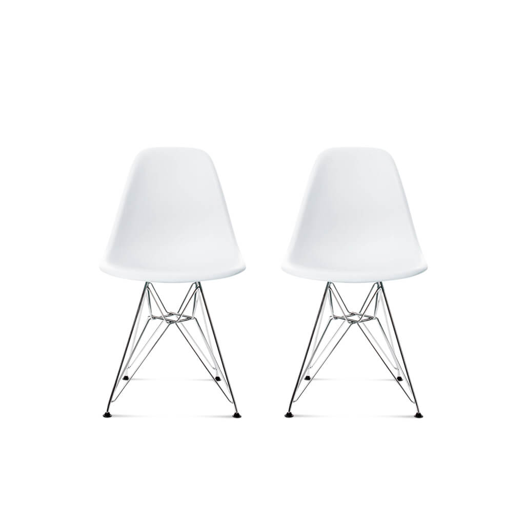 Set of Two DSR Molded Plastic Side Chairs - Chrome Steel