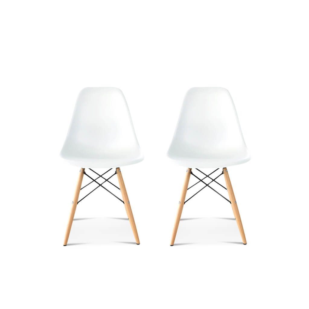 Set of Two DSW Molded Plastic Side Chair Wooden Dowel Base - EternityModern