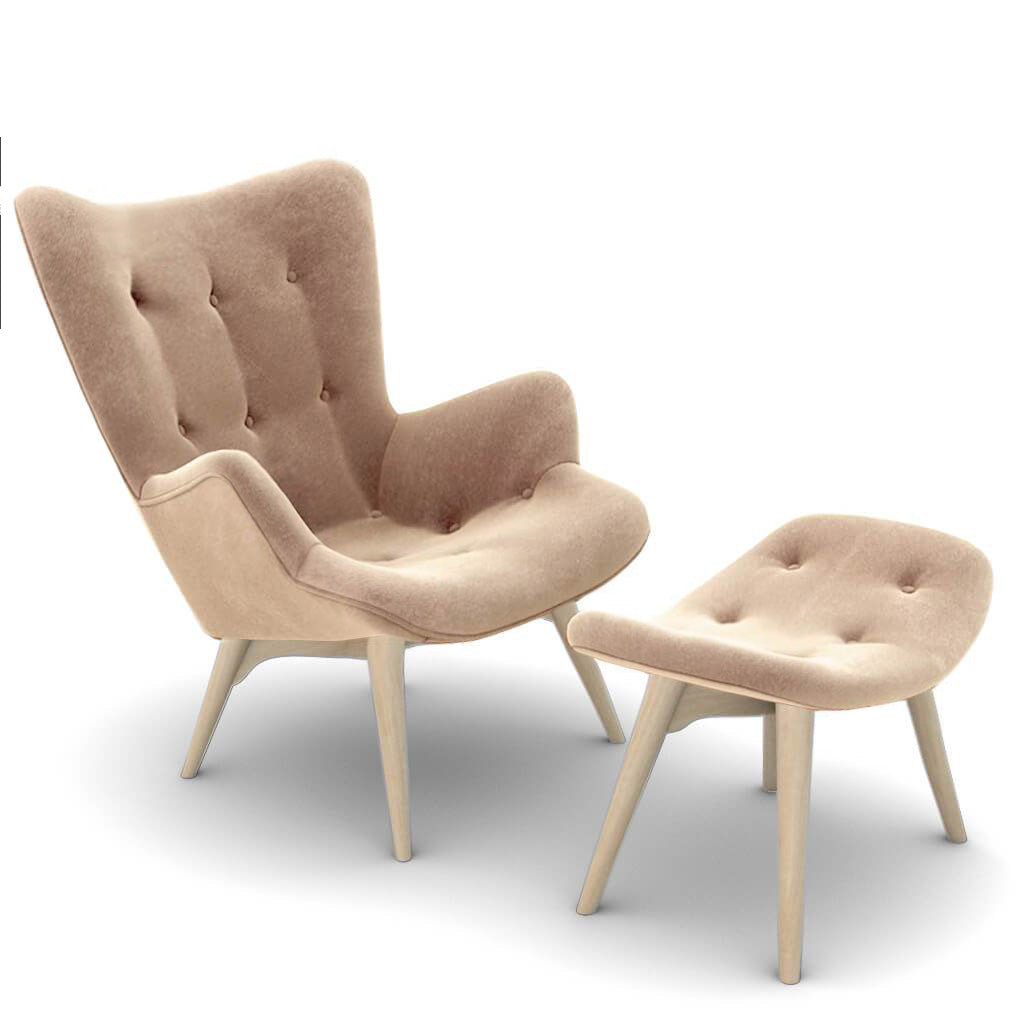 Grant Featherston Contour Lounge Chair and Ottoman - Velvet-Ecru Champagne / Natural Ash