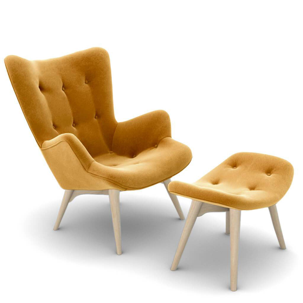 Grant Featherston Contour Lounge Chair and Ottoman - Velvet-Ginger Cider / Natural Ash