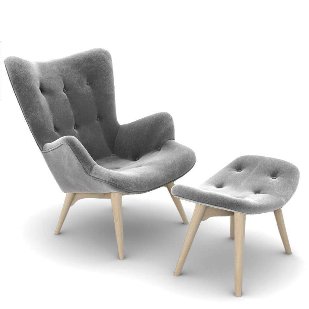 Grant Featherston Contour Lounge Chair and Ottoman - Velvet-Graphite Grey / Natural Ash
