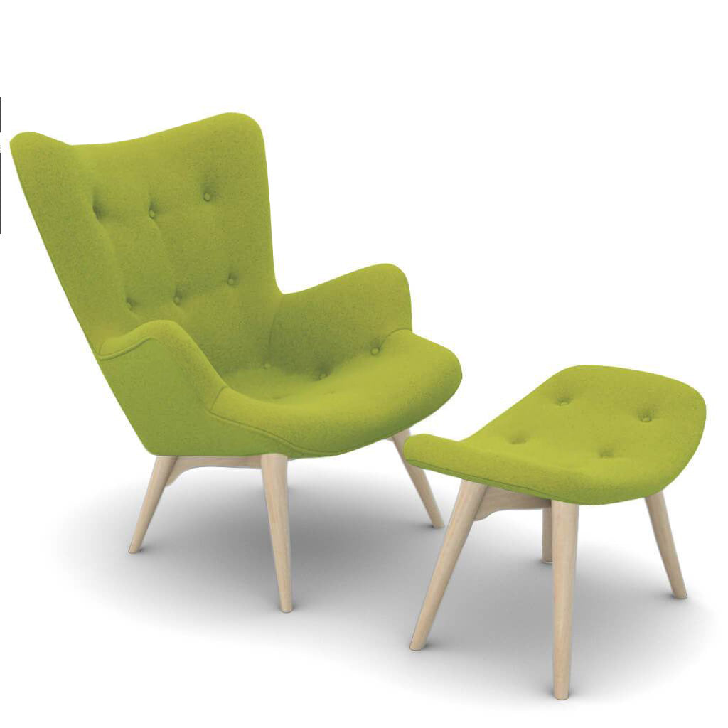 Grant Featherston  Contour Lounge Chair and Ottoman - Cashmere-Chartreuse Green / Natural Ash