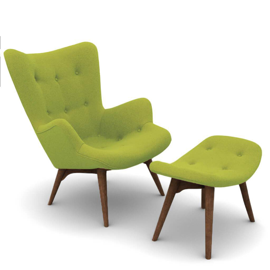 Grant Featherston Contour Lounge Chair & Ottoman - Cashmere-Chartreuse Green / Walnut