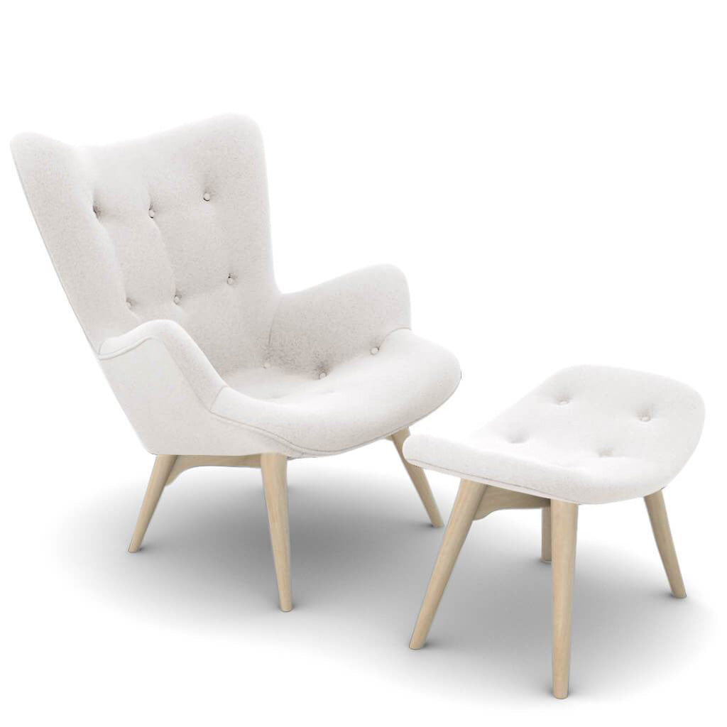 Grant Featherston Contour Lounge Chair and Ottoman - Cashmere-Snow White / Natural Ash