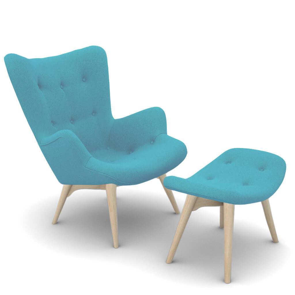 Grant Featherston Contour Lounge Chair and Ottoman - Cashmere-Tiffany Blue / Natural Ash
