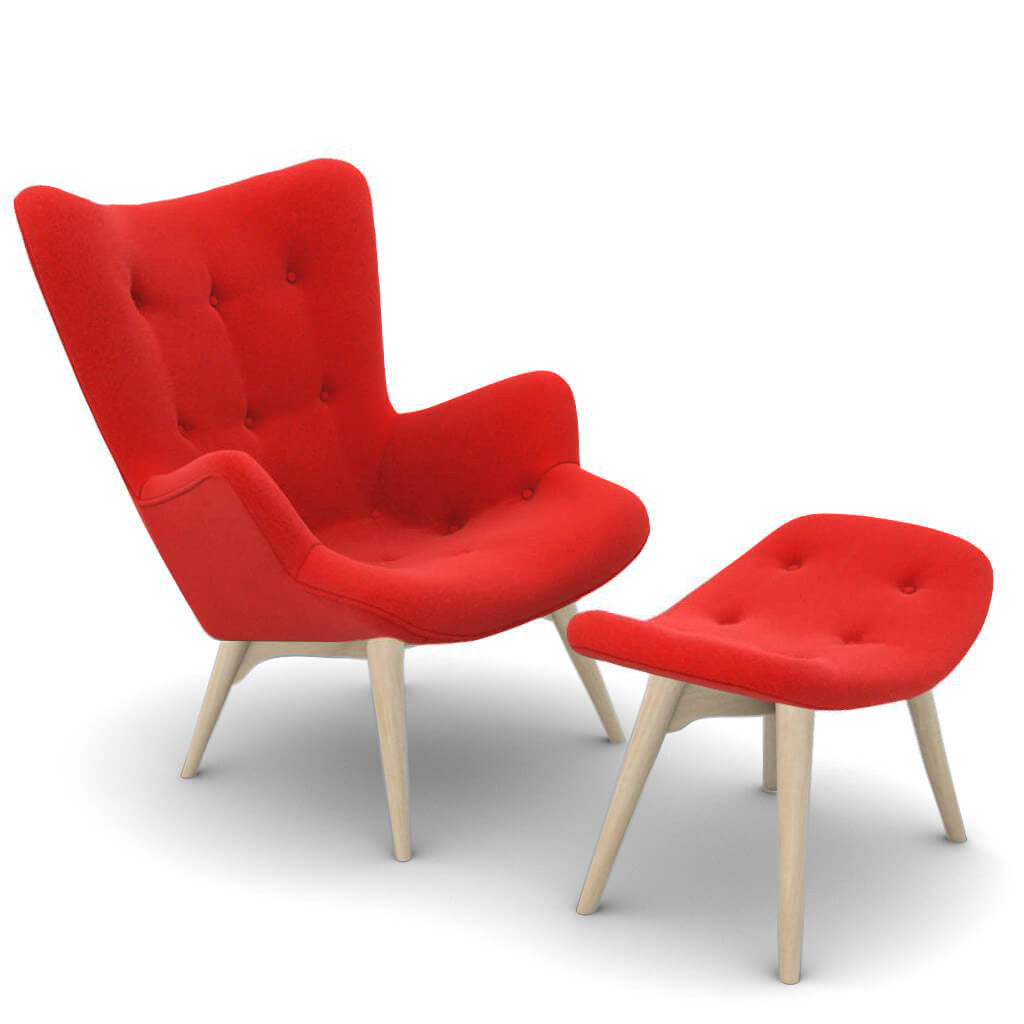Grant Featherston Contour Lounge Chair and Ottoman - Cashmere-Imperial Red / Natural Ash
