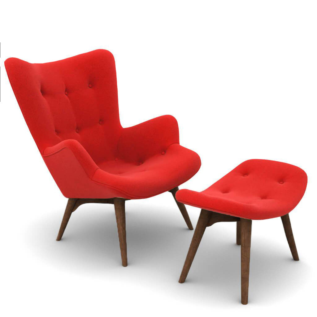 Grant Featherston Contour Lounge Chair & Ottoman - Cashmere-Imperial Red / Walnut