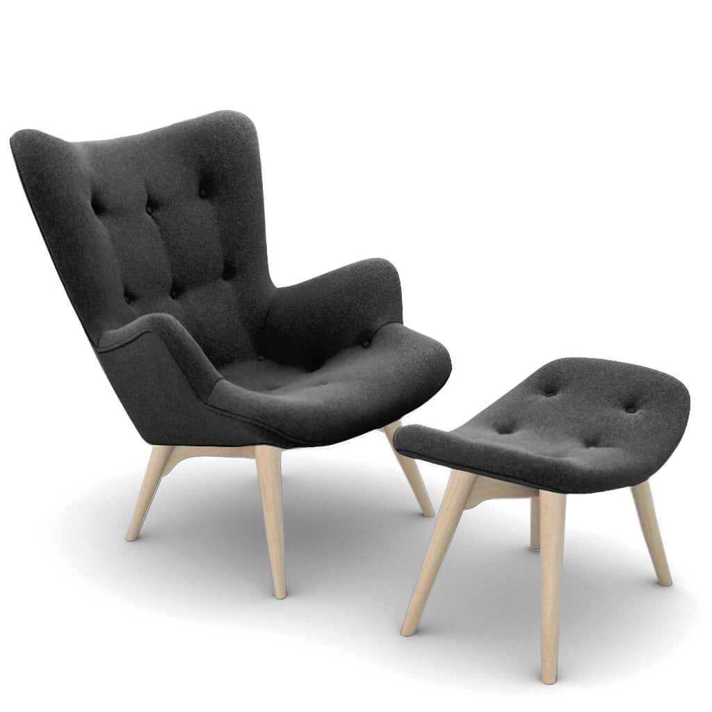 Grant Featherston Contour Lounge Chair & Ottoman - Boucle Wool-Charcoal Grey / Natural Ash