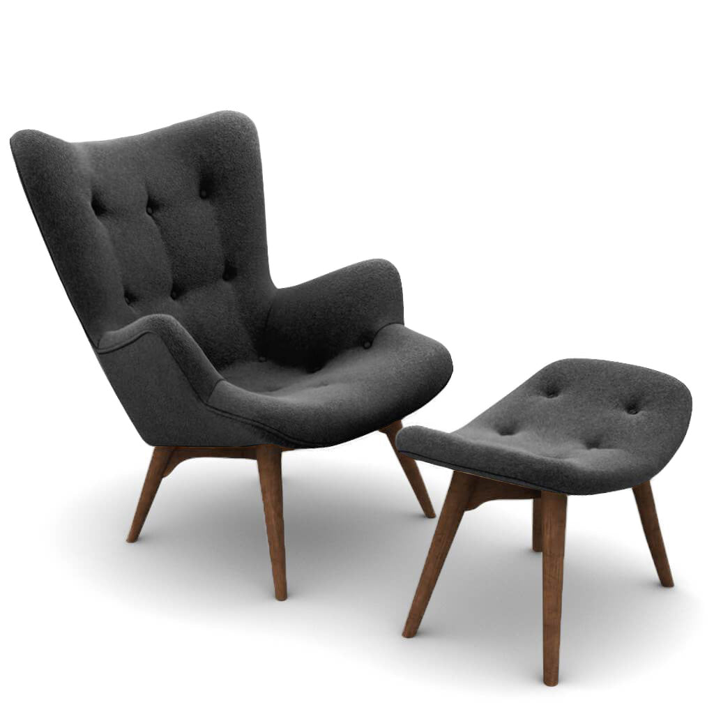 Grant Featherston Contour Lounge Chair & Ottoman - Boucle Wool-Charcoal Grey / Walnut