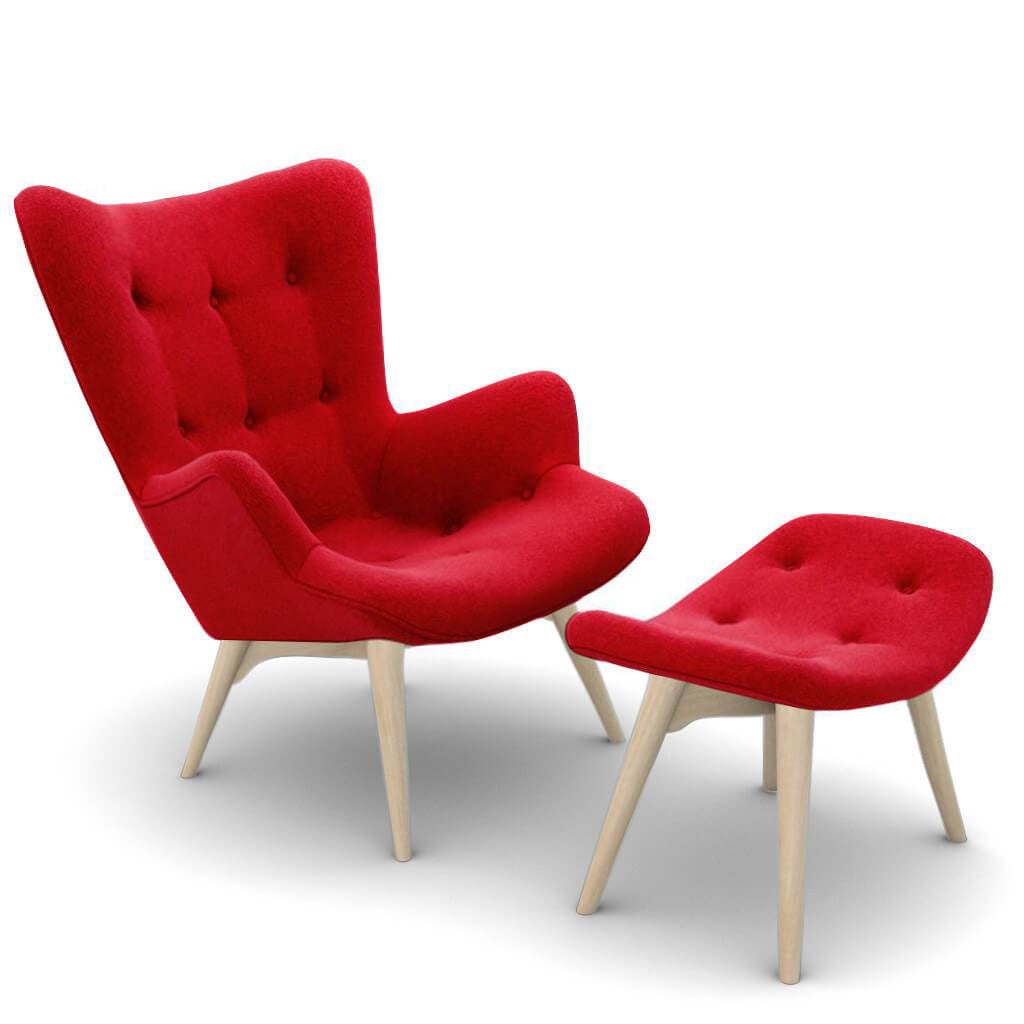 Grant Featherston Contour Lounge Chair and Ottoman - Boucle Wool-Ruby / Natural Ash