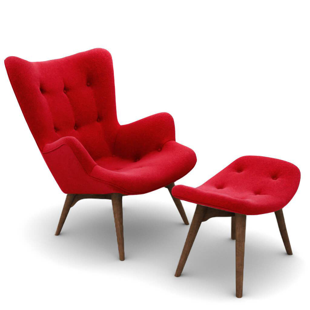 Grant Featherston Contour Lounge Chair & Ottoman - Boucle Wool-Ruby / Walnut