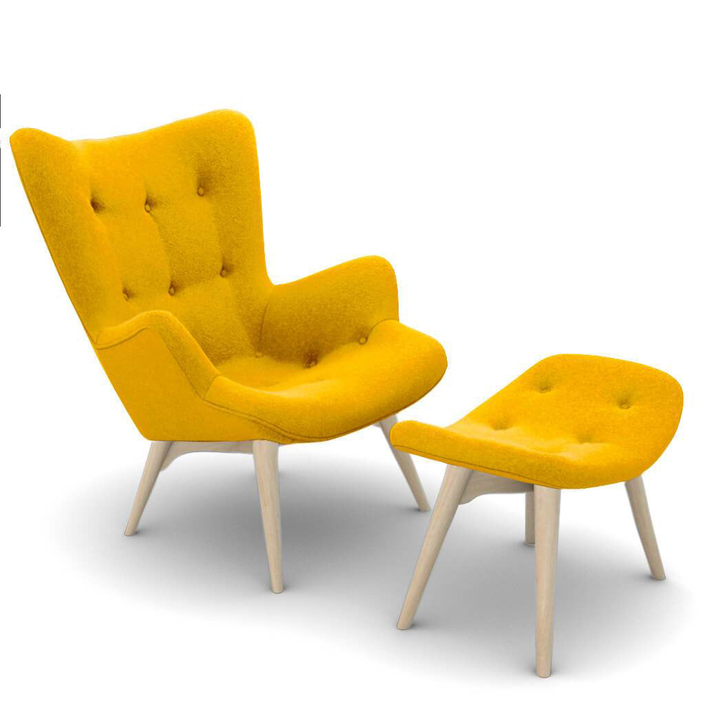 Grant Featherston Contour Lounge Chair and Ottoman - Boucle Wool-Yellow / Natural Ash