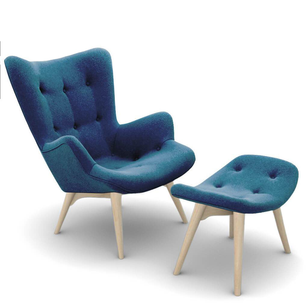 Grant Featherston Contour Lounge Chair and Ottoman - Boucle Wool-Ocean / Natural Ash