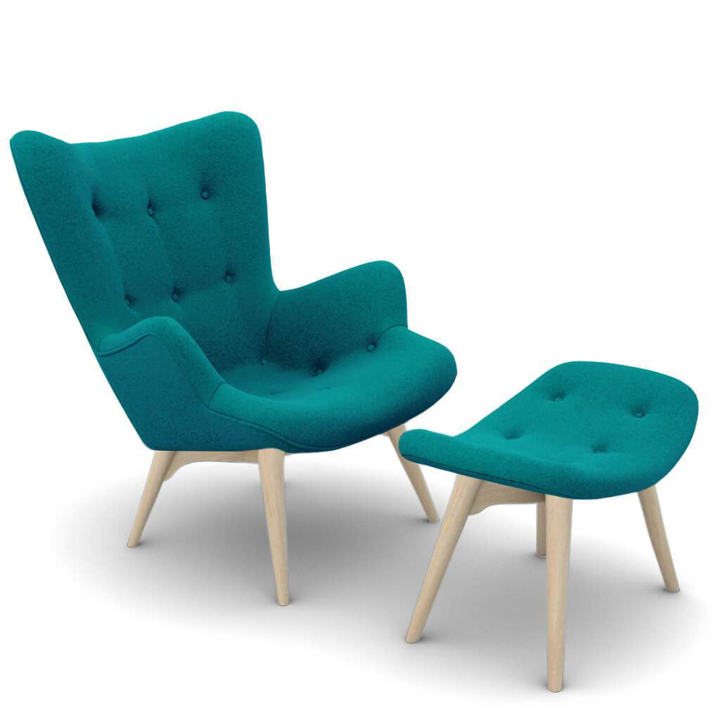 Grant Featherston Contour Lounge Chair and Ottoman - Cashmere-Pine Green / Natural Ash