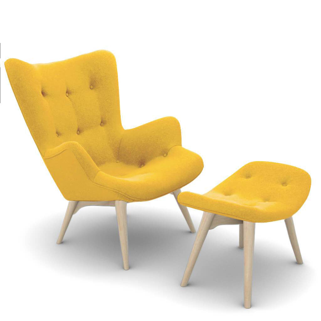 Grant Featherston Contour Lounge Chair and Ottoman - Cashmere-Dijon Yellow / Natural Ash