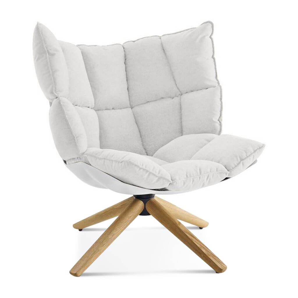 Husk Chair Low Back - Wood Base - Cashmere-Snow White / Glossy White / Natural Ash