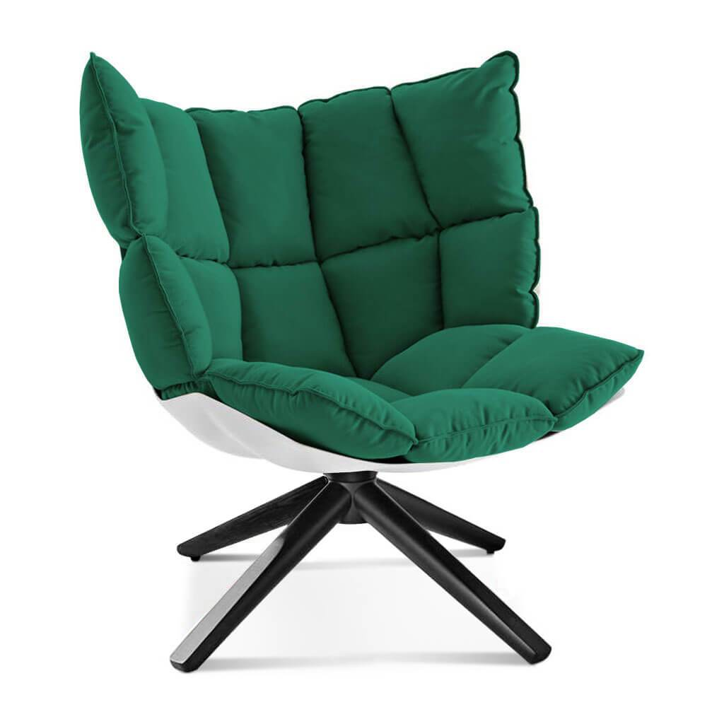 Husk Chair Low Back - Wood Base - Sunbrella-Canvas Forest Green - 5446-0000 / Glossy White / Black Stain