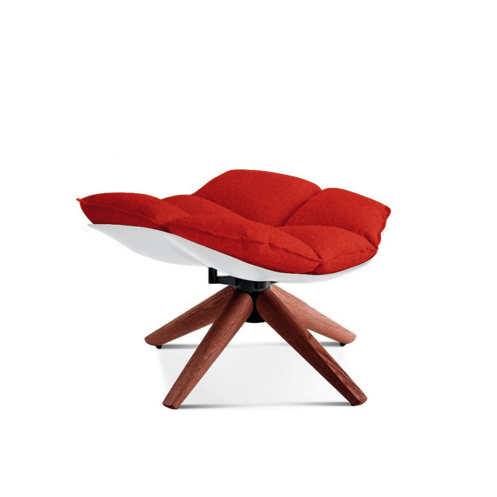 Husk Ottoman - Wood Base - Cashmere-Imperial Red / Glossy White / Walnut