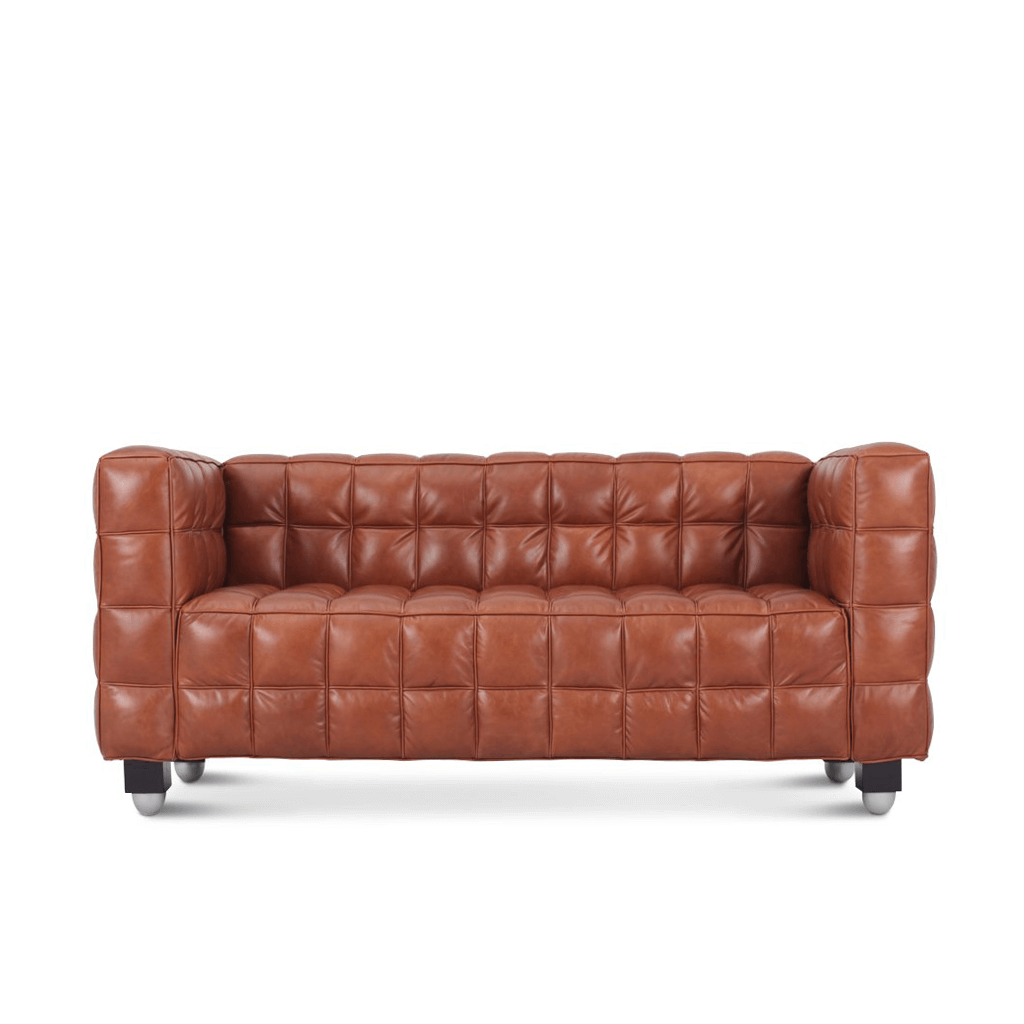 Josef Hoffmann Kubus Loveseat - Aniline-Dark Brown