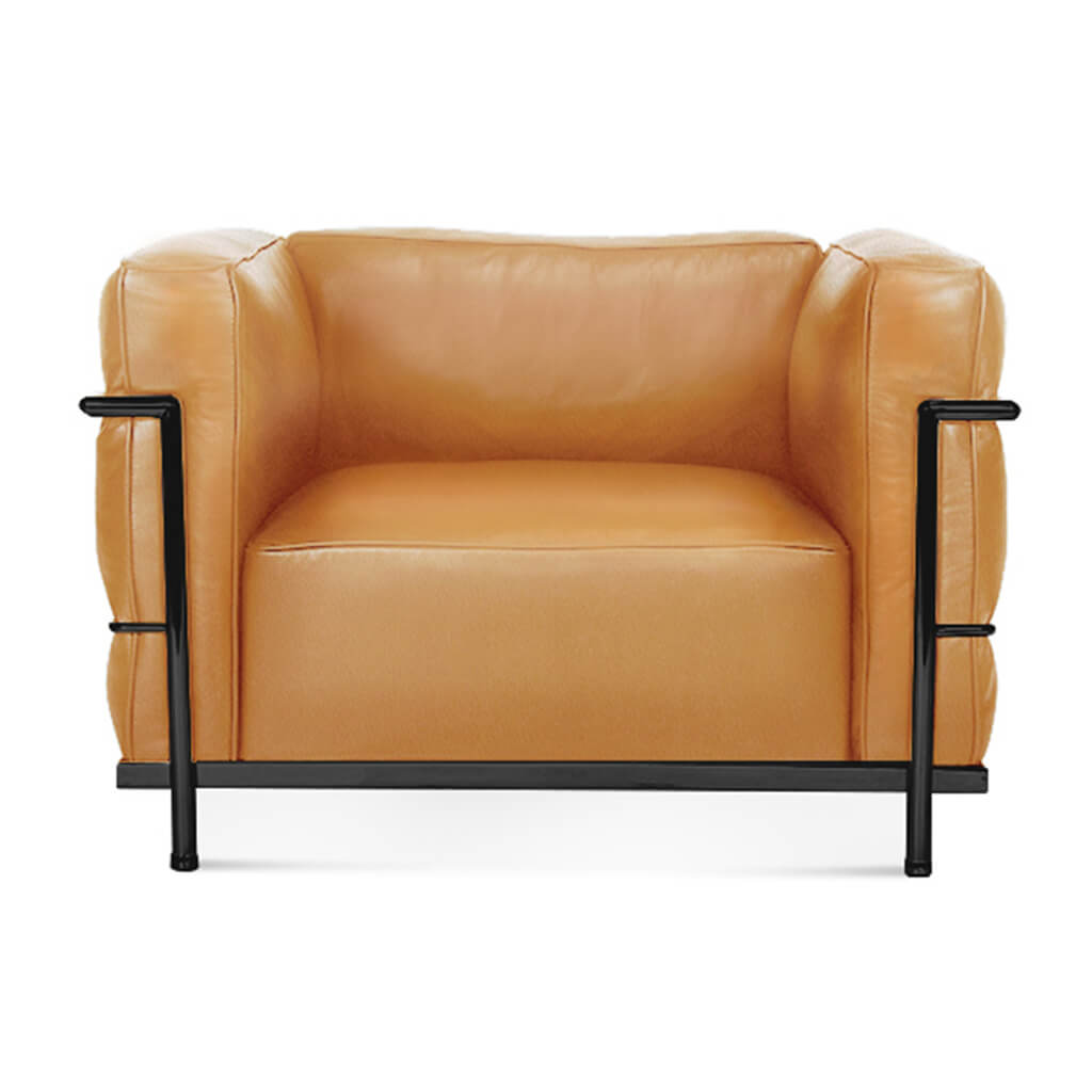Lc3 Grand Modele Armchair With Down Cushions - Top Grain-Tan / Black Powder-Coated Steel