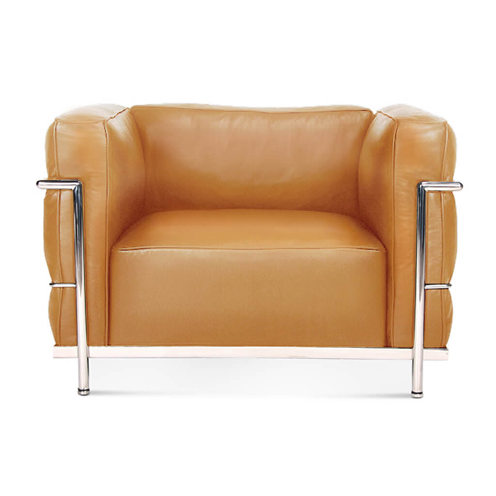 Lc3 Grand Modele Armchair With Down Cushions - Top Grain-Tan / Chrome Steel