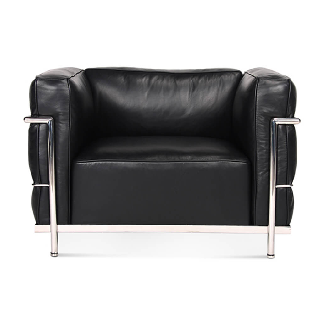 Lc3 Grand Modele Armchair With Down Cushions - Aniline Leather-Black / Chrome Steel