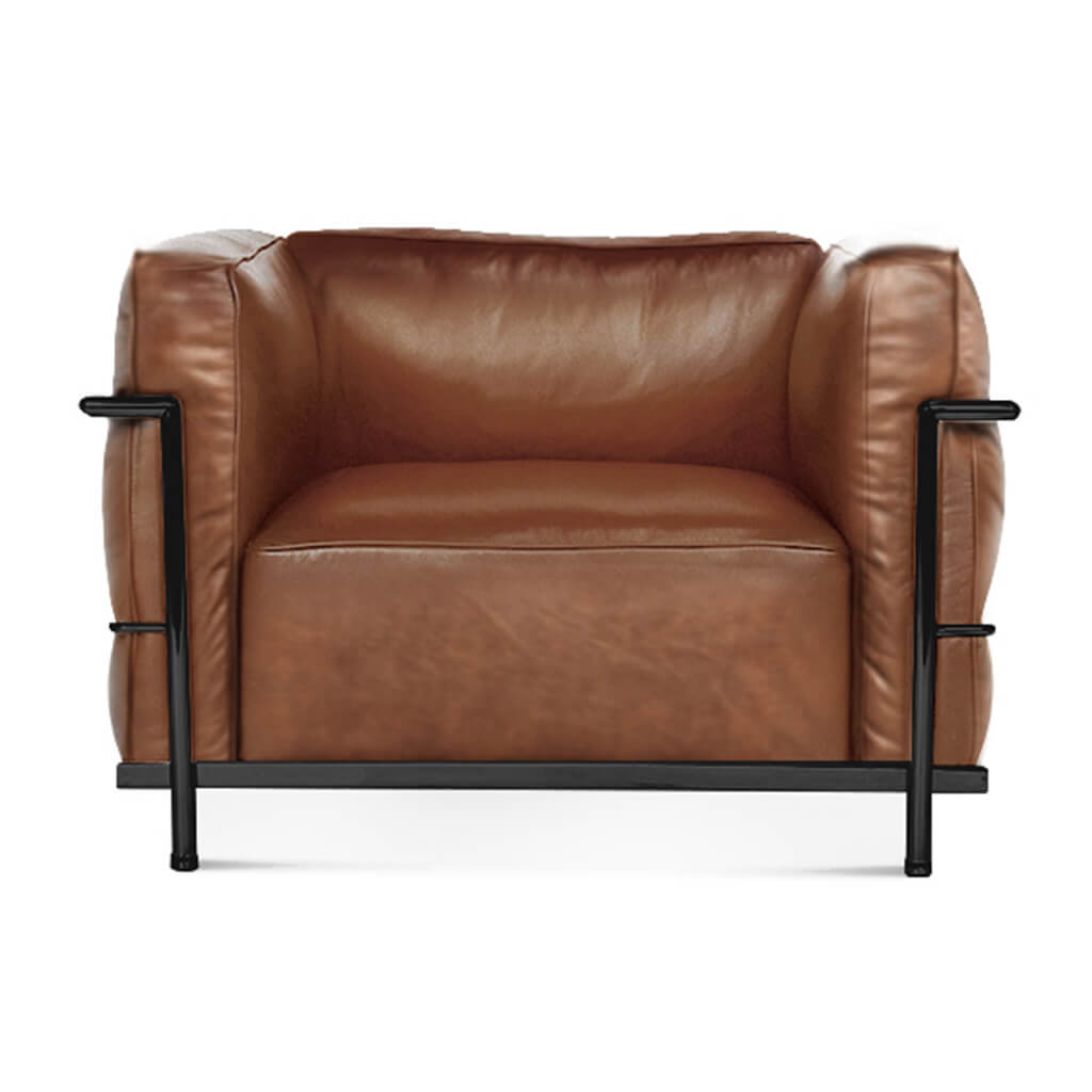 Lc3 Grand Modele Armchair With Down Cushions - Vintage Leather-Brown / Black Powder-Coated Steel
