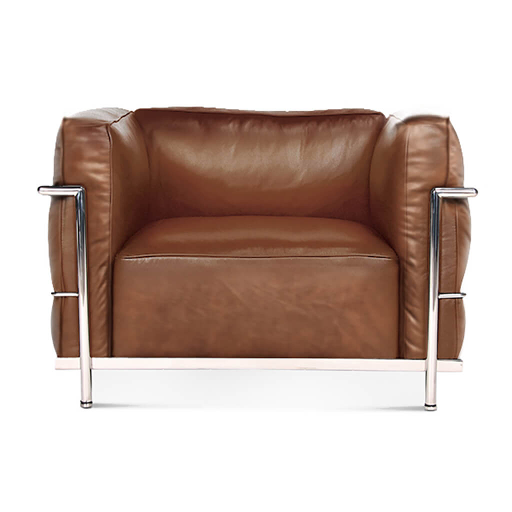 Lc3 Grand Modele Armchair With Down Cushions - Vintage Leather-Brown / Chrome Steel
