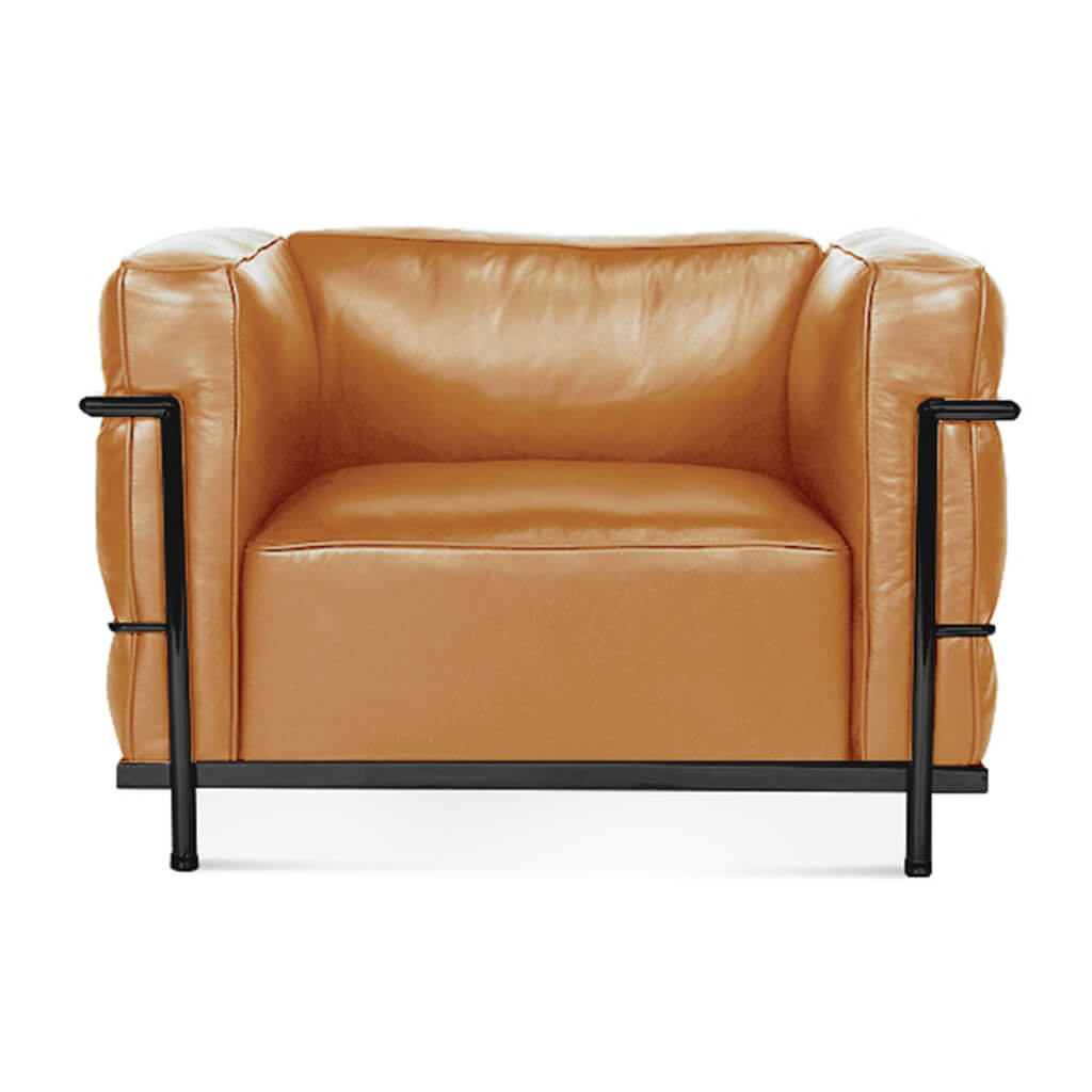 Lc3 Grand Modele Armchair With Down Cushions - Aniline Leather-Beige / Black Powder-Coated Steel